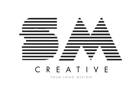 SM S M Zebra Letter Logo Design with Black and White Stripes Vector