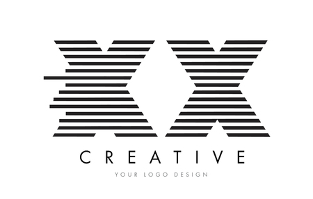 XX X X Zebra Letter Logo Design with Black and White Stripes Vector Illustration