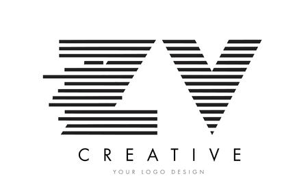 ZV Z V Zebra Letter Logo Design with Black and White Stripes Vector