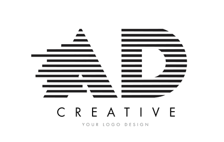 d: AD A D Zebra Letter Logo Design with Black and White Stripes Vector