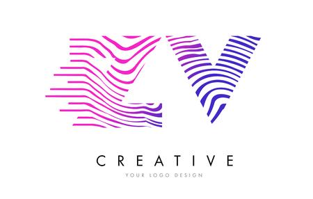ZV Zebra Letter Logo Design Ilustrace