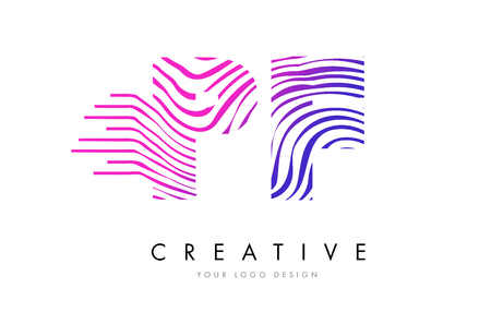 PF Zebra Letter Logo Design Illustration
