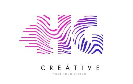 HG H G Zebra Letter Logo Design with Black and White Stripes Vector