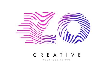 ZO Z O Zebra Letter Logo Design with Black and White Stripes Vector