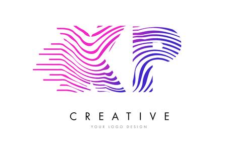 XP X P Zebra Letter Logo Design with Black and White Stripes Vector