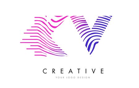 KV K V Zebra Letter Logo Design with Black and White Stripes Vector Logó