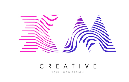 xm: XM X M Zebra Letter Logo Design with Black and White Stripes Vector Illustration