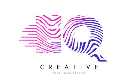 EQ Zebra Letter Logo Design with Black and White Stripes Illustration