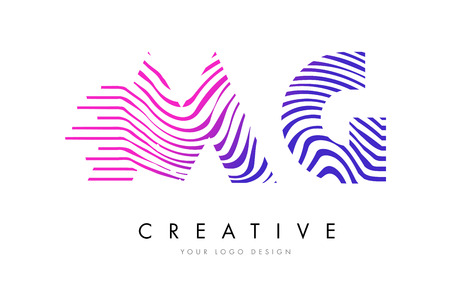 MG Zebra Letter Logo Design with Black and White Stripes Vector Illustration