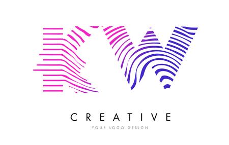 kw: KW K W Zebra Letter Logo Design with Black and White Stripes Vector