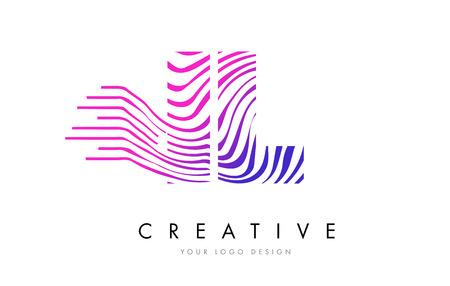 IL I L Zebra Letter Logo Design with Black and White Stripes Vector