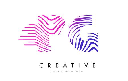 PG P G Zebra Letter Logo Design with Black and White Stripes Vector Illustration