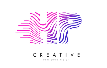 HP H P Zebra Letter Logo Design with Black and White Stripes Vector