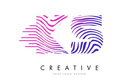 KS Zebra Letter Logo Design with Black and White Stripes Vector