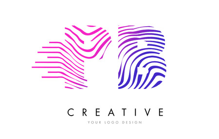PB P B Zebra Letter Logo Design with Black and White Stripes Vector Illustration