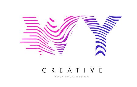 흑백 줄무늬 벡터와 함께 WY 얼룩말 문자 로고 디자인