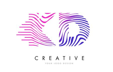 KD K D Zebra Letter Logo Design with Black and White Stripes Vector