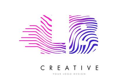 logo vector: LB L B Zebra Letter Logo Design with Black and White Stripes Vector