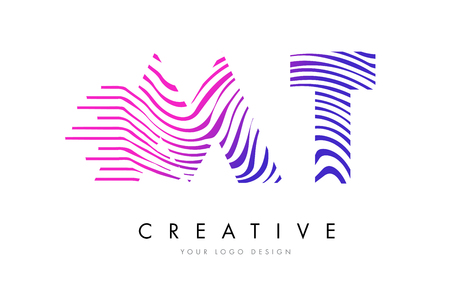 logo vector: MT M T Zebra Letter Logo Design with Black and White Stripes Vector Illustration