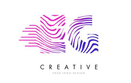 eg: EG E G Zebra Letter Logo Design with Black and White Stripes Vector