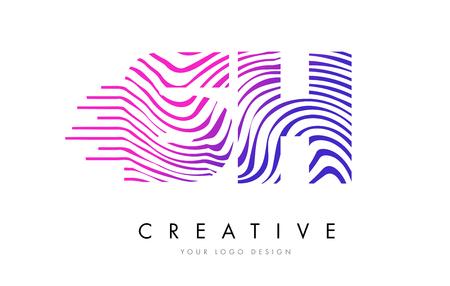 sh: SH S H Zebra Letter Logo Design with Black and White Stripes Vector