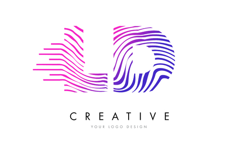 logo vector: LD L D Zebra Letter Logo Design with Black and White Stripes Vector Illustration