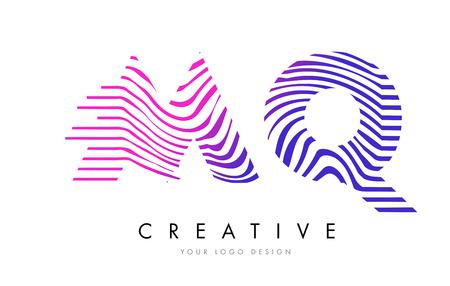 logo vector: MQ M Q Zebra Letter Logo Design with Black and White Stripes Vector Illustration
