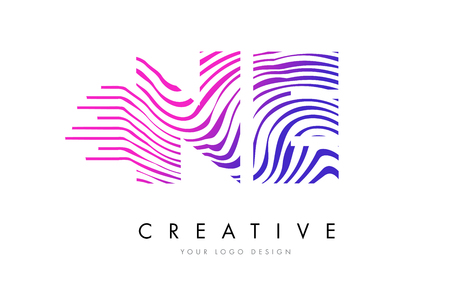 logo vector: NE N E Zebra Letter Logo Design with Black and White Stripes Vector Illustration