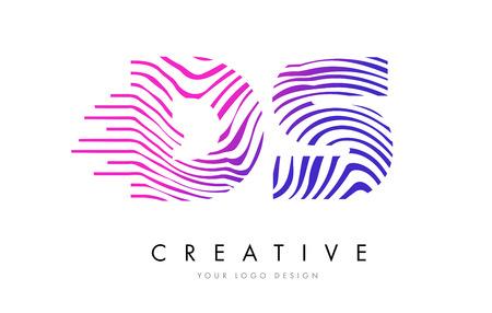 logo vector: DS D S Zebra Letter Logo Design with Black and White Stripes Vector