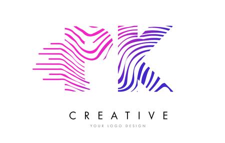 PK P K Zebra Letter Logo Design with Black and White Stripes Vector
