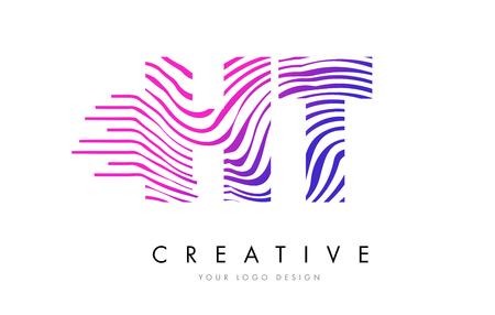 HT H T Zebra Letter Logo Design with Black and White Stripes Vector