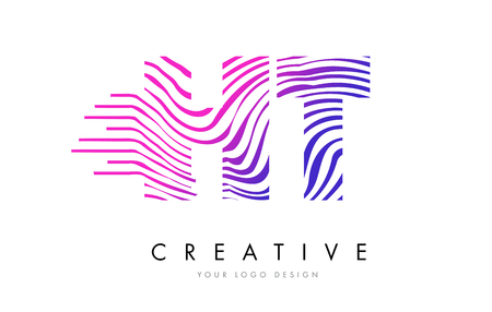 HT H T Zebra Letter Logo Design with Black and White Stripes Vector Illustration