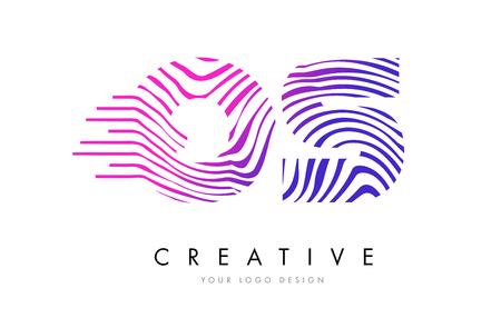 OS Zebra Letter Logo Design with Black and White Stripes Vector