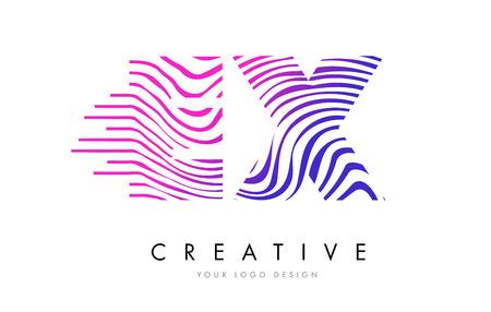 logo vector: EX E X Zebra Letter Logo Design with Black and White Stripes Vector Illustration