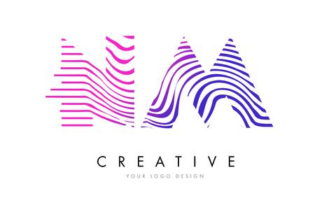 NM N M Zebra Letter Logo Design with Black and White Stripes Vector Illustration