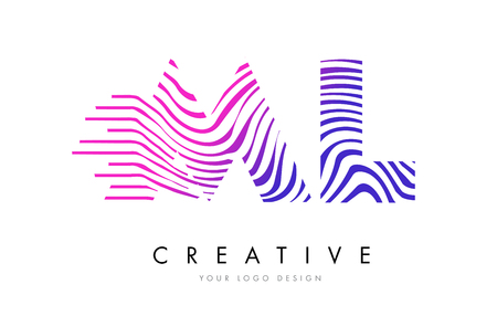 ml: ML M L Zebra Letter Logo Design with Black and White Stripes Vector