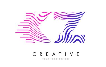 kz: KZ K Z Zebra Letter Logo Design with Black and White Stripes Vector