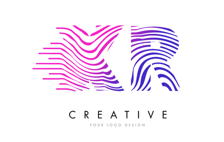 logo vector: XR X R Zebra Letter Logo Design with Black and White Stripes Vector
