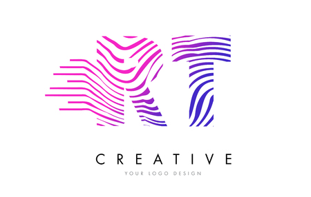 RT R T Zebra Letter Logo Design with Black and White Stripes Vector