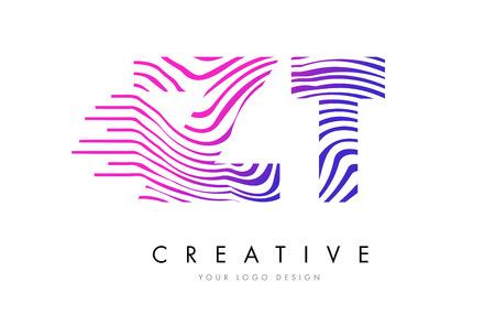 Siyah ve Beyaz Çizgili Vector ile ZT ZT Zebra Harf Logo Tasarımı Çizim