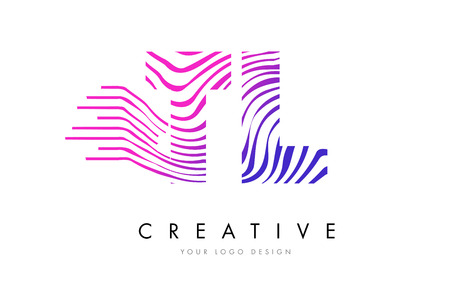 TL T L Zebra Letter Logo Design with Black and White Stripes Vector