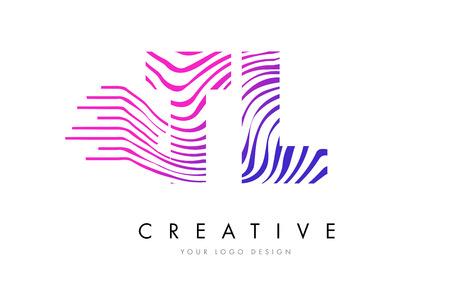 TL T L Zebra Letter Logo Design with Black and White Stripes Vector Logó