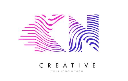 logo vector: KN K N Zebra Letter Logo Design with Black and White Stripes Vector Illustration