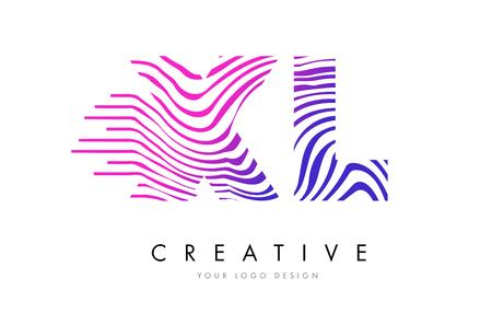 XL X L Zebra Letter Logo Design with Black and White Stripes Vector Illustration