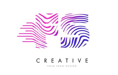 FS F S Zebra Letter Logo Design with Black and White Stripes Vector Ilustração