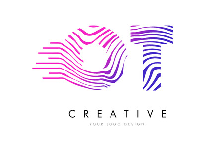 logo vector: OT O T Zebra Letter Logo Design with Black and White Stripes Vector Illustration