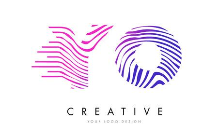 logo vector: YO Y O Zebra Letter Logo Design with Black and White Stripes Vector