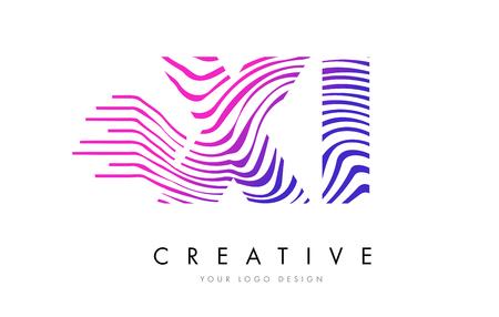 XI X I Zebra Letter Logo Design with Black and White Stripes Vector