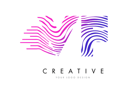 VF V F Zebra Letter Logo Design with Black and White Stripes Vector Ilustrace