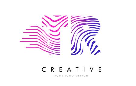 TR T R Zebra Letter Logo Design with Black and White Stripes Vector Illustration